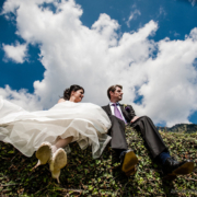 bride and groom in the dolomites