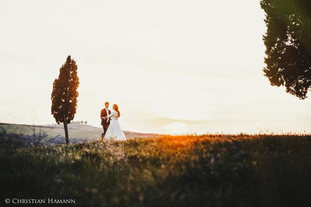 splendida fotografia di matrimonio vicino a Pienza