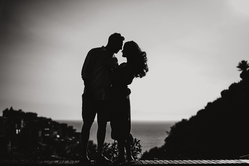 Engagement photographer cinque terre Italy, nice Silhouette of a couple in love
