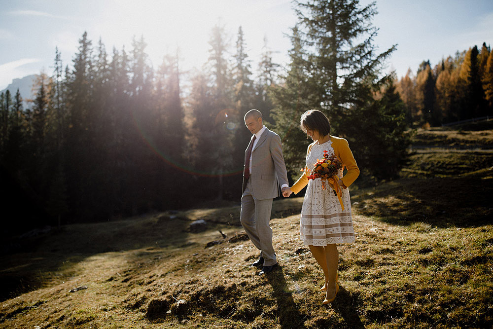 Matrimonio in Autunno Rustico e Vintage al Passo Giau :: Luxury wedding photography - 9