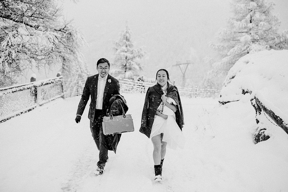 Engagement Session in the snow in Zermatt Switzerland