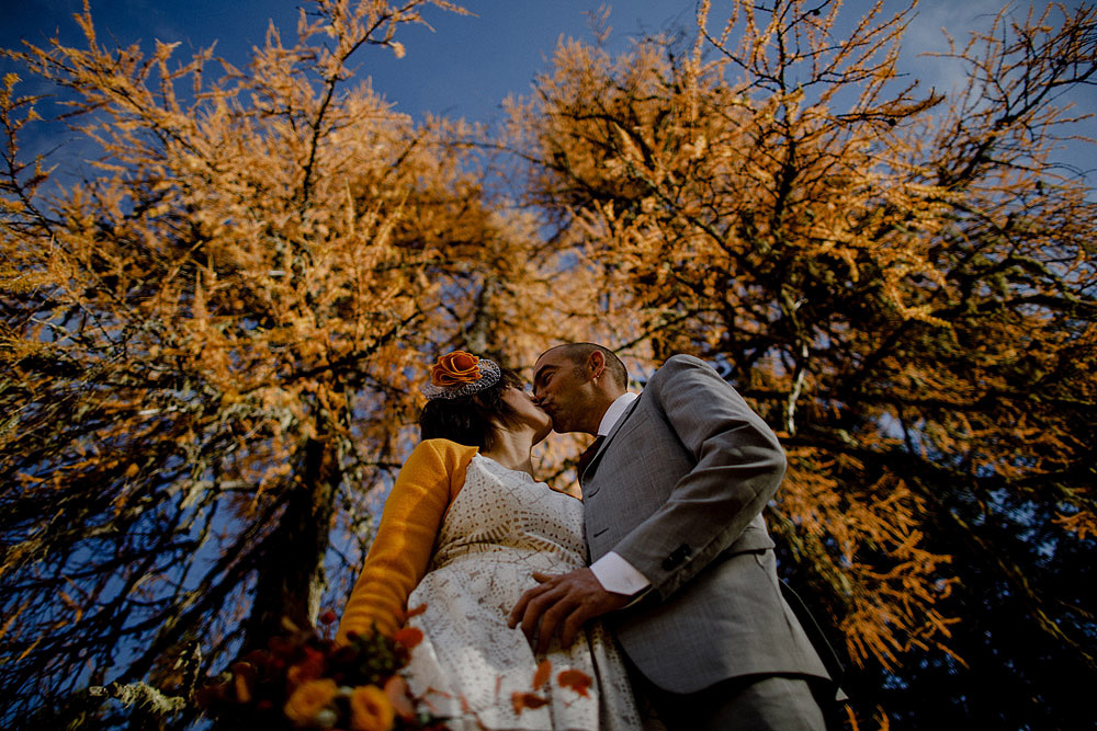 Wedding in Autumn Rustic and Vintage at Passo Giau